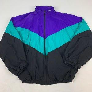 Vintage colorful windbreaker zip up size Large